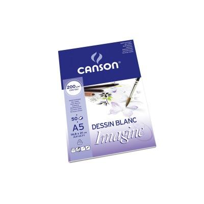 Blok Canson Imagine Dessin Blanc  50ark 200g A5